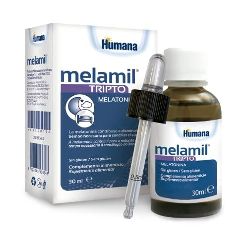Humana MELAMIL Tripto, a base de melatonina, triptófano y vitamina B6, Complemento Alimenticio que ayuda a conciliar el Sueño; 30ml