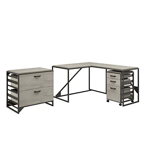 Bush Furniture Refinery 50W Desk with Return, 3 DWR Mob Ped and Lateral File, Cottage White