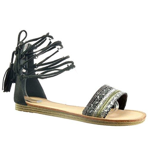 Angkorly - Damen Schuhe Sandalen - Römersandalen - Fransen - Bommel - Strass Flache Ferse 1 cm - Schwarz F615-13 T 39
