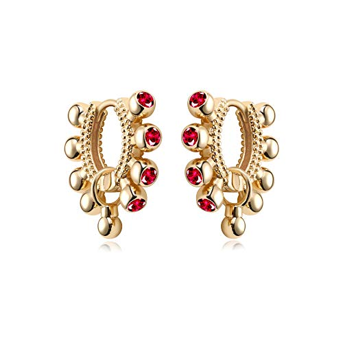 MYEARS Women Gold Huggie Hoop Earrings Bead Ball Rosy Red Diamond Cubic Zirconia Sleeper Dangle Drop 14K Gold Filled Small Boho Simple Delicate Handmade Hypoallergenic Jewelry Gift