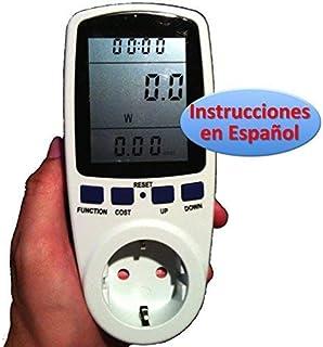 Medidor de Consumo Eléctrico con pantalla LCD grande (Vatímetro, factor de potencia, Watiometro, Contador Electricidad, Am...