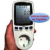 Medidor de Consumo Eléctrico con pantalla LCD grande (Vatímetro, factor de potencia, Watiometro, Contador Electricidad, Amperímetro, Voltímetro, Power Factor, Watt Meter para Enchufe 220v 230v)