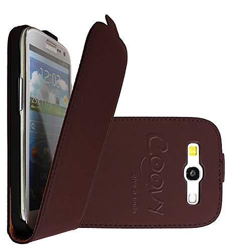 COOVY® Custodia per Samsung Galaxy S3 GT-i9300 GT-i9305 Neo GT-i9301 Slim Flip Cover Case della Copertura di Vibrazione Protezione, Pellicola Protettiva per Schermo | Colore Marrone