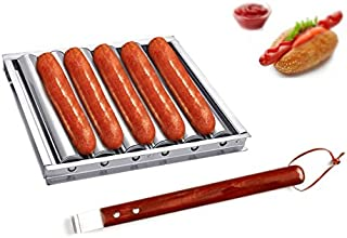 i Kito Charcoal Stainless Steel Hot Dog Sausage Roller Rack Steamer with Extra Long Wood Handle New BBQ Tools 5 Section Br...