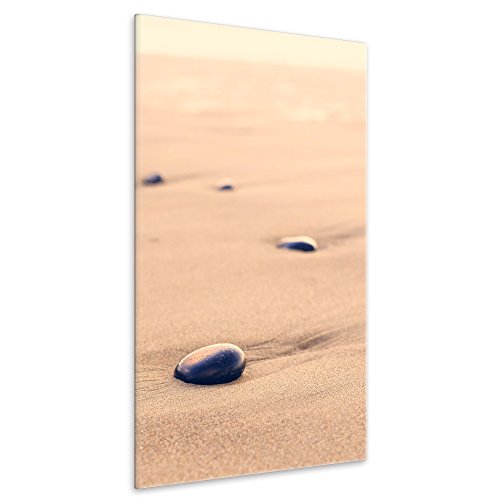 malango® Leinwandbild Sand Steine Wanddesign Kunstdruck Fotoleinwand handgefertigt Wanddekoration Wellness Oase Bild Foto 60 x 90 cm