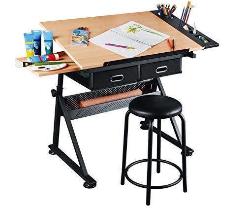 Dawoo Mesa de Dibujo de Teca Mesa de Dibujo...