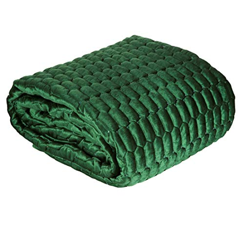 Eurofirany Bedsprei Velvet fluweel sprei pailletten gewatteerde deken sprei quilt elegant edel glamour slaapkamer woonkamer lounge, donkergroen, 220X240cm