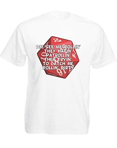 brand88–DM See Me Rollin, para hombre impreso camiseta - Blanco -
