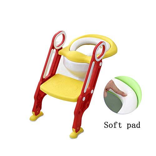 JIEER-C Ergonomische stoel, potje, toiletbril, baby, draagbaar, opvouwbaar, verstelbaar, antislip, robuust, comfortabel reizen, afneembare jongens en meisjes, gemakkelijk te monteren, schoon rood 1