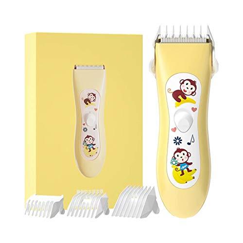 THMY Baby-tondeuse-kits met 3 geleidingskammen, waterdichte oplaadbare stille elektrische draadloze haarknipper voor kinderen, peuters, peuters, geel