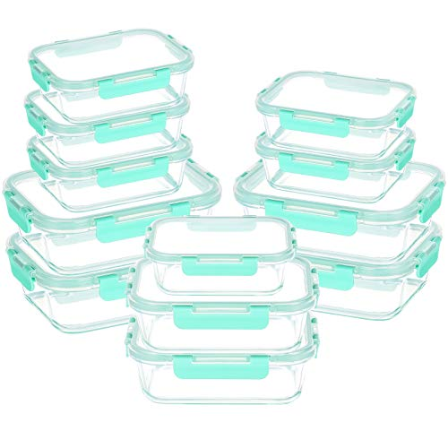 UMI UMIZILI Vorratsdosen aus Glas mit Deckel, luftdicht, für Lebensmittel, Lunchboxen mit intelligenten Verriegelungsdeckel (Minze), für Geschirrspüler, Ofen, Mikrowelle geeignet, 12 Stück
