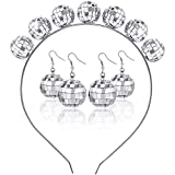 Hicarer 2 Pairs 70s Silver Disco Ball Earrings and Vintage Disco Ball Headband for Costume Party Accessories