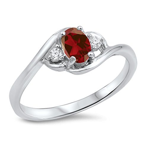 925 Sterling Silver Round Faceted Natural Genuine Red Ruby Oval Cluster Ring Size 9