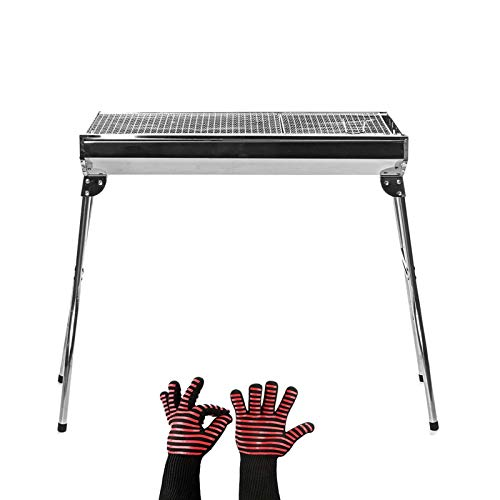 BBQ for Picnic Garden Terrace Camping Beach Stainless Steel Charcoal BBQ Grill Outdoor Foldable Kebab Barbecue Grill Stove Rack Camping Cooking BBQ Tools Garden Party