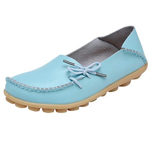 iYmitz Damen Klassisch Mode Weiche Krankenschwester Krawatte Fache Schuhe lässige Fahrschuhe Mokassins Komfort Handgefertigt(Hellblau,EU-41)