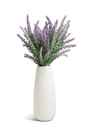 OPPS Ramo de flores artificiales de lavanda con jarrón de cerámica blanco para decoración del hogar, fiesta y boda…