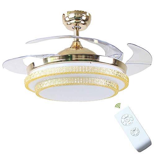 MAMINGBO Modernos ventiladores de techo LED con luz, silenciosa Luz invisible for ventilador de techo de cristal con control remoto, sala de estar, dormitorio for niños, lámpara de atenuación