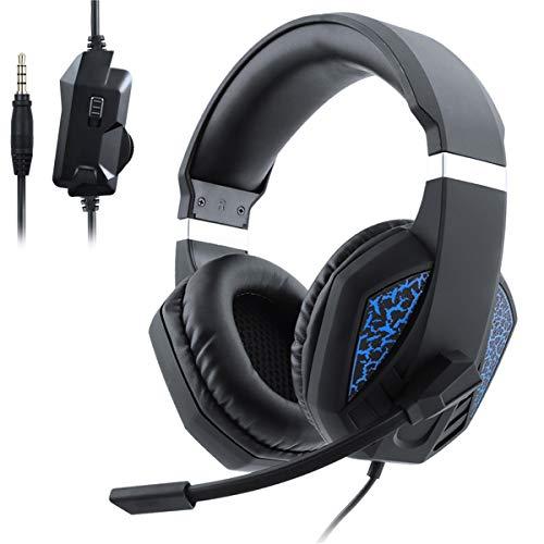 Auriculares Gaming Estéreo de Juego para PS4, PC, Xbox One, Cancelación de Ruido & Controlador de 50 mm, Micrófono, Control de Volumen, para Teléfonos Inteligentes, Ordenadores Portátiles, Mac