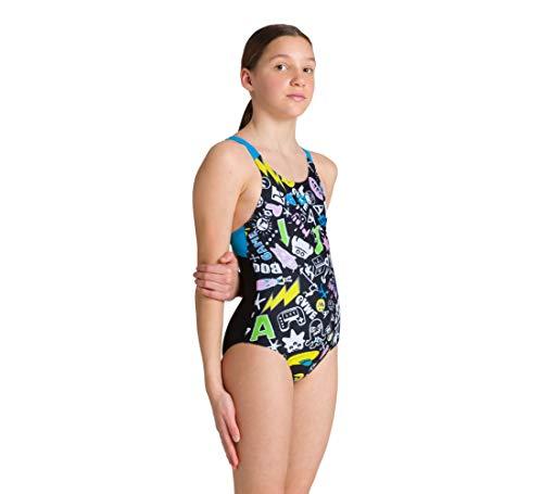 Arena G Playful Swim PRO Back One Piece Bambina, Black-Turquoise, 6-7