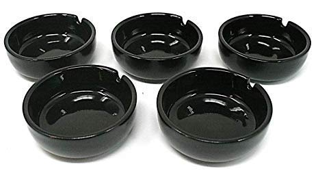 5個セット 黒 灰皿 陶器 ACSWEBSHOPオリジナル