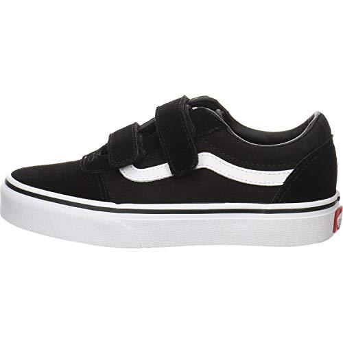 Vans Jungen Ward V - Velcro Suede Sneaker, Schwarz Suede Canvas Black White Iju, 34 EU