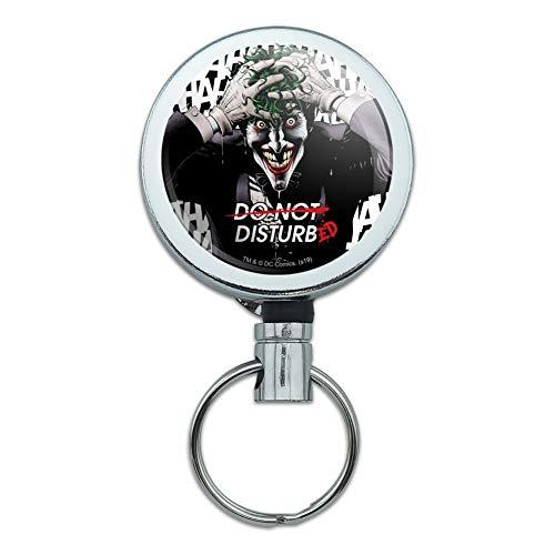 Batman Disturbed Joker Heavy Duty Metal Retractable Reel ID Badge Key Card Tag Holder with Belt Clip