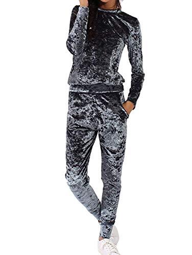 Jogging pak Dames Sweatshirt en 2 Broeken Stuk Festival Mode Set Herfst Winter Mode Casual Fluweel Tracksuit Lange Mouw Ronde hals Effen Kleur Shirt en Sport Broek
