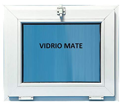 ECO-BLU V08M Ventana Pvc Baño 600x500 Golpete Abatible Climalit Mate, Blanco, 600 x 500 mm
