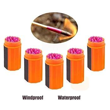 CZ-XING Lot de 5 allumettes de survie imperméables et résistantes au vent avec tête extra large et sac à cordon en coton