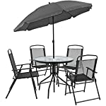 Flash Furniture Nantucket 6 Piece Black Patio Garden Set with Table, Umbrella and 4 Folding Chairs 18 Outdoor Retreat: Change your setting relax, entertain, eat, drink outdoors. Lightweight chairs transport easily. Get your outdoor living space from boring to appealing with this glass patio table set with water wave top and umbrella Product Measurements: Table Size: 31.25 inch W x 31.25 inch D x 28 inch H | Base Size: 17.75 inch W x 19 inch L | Umbrella Size: 59 inch W x 59 inch D x 80 inch H; 76 inch H Closed | Chair Size: 21.25 inch W x 25 inch D x 35.25 inch H | Back Size: 17 inch W x 22.25 inch H | Seat Size: 17.25 inch W x 16 inch D x 16 inch H Tempered glass table with black metal base, floor glides, clean with water based cleaner