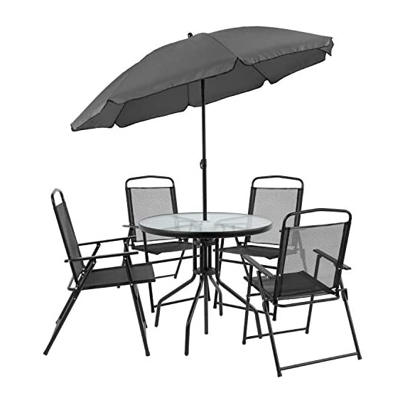 Flash Furniture Nantucket 6 Piece Black Patio Garden Set with Table, Umbrella and 4 Folding Chairs 6 Outdoor Retreat: Change your setting relax, entertain, eat, drink outdoors. Lightweight chairs transport easily. Get your outdoor living space from boring to appealing with this glass patio table set with water wave top and umbrella Product Measurements: Table Size: 31.25 inch W x 31.25 inch D x 28 inch H | Base Size: 17.75 inch W x 19 inch L | Umbrella Size: 59 inch W x 59 inch D x 80 inch H; 76 inch H Closed | Chair Size: 21.25 inch W x 25 inch D x 35.25 inch H | Back Size: 17 inch W x 22.25 inch H | Seat Size: 17.25 inch W x 16 inch D x 16 inch H Tempered glass table with black metal base, floor glides, clean with water based cleaner