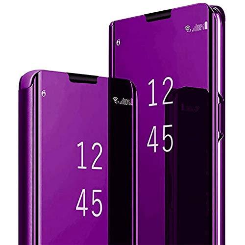 Smfu Cover Compatible XiaoMi Redmi Note3 Custodia per Telefono a Specchio Mirror Clear View Flip Traslucido Custodia Staffa Pieghevole -Viola con Pellicola in Vetro temperato 2 Pezzi