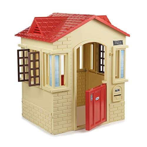 Little Tikes Cape Cottage Playhouse with Working Doors, Windows, and Shutters - Tan