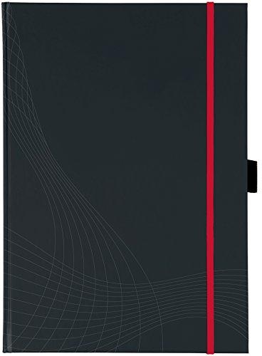 AVERY Zweckform 7029 Notizbuch notizio (A4, Hardcover, gebunden, kariert, 90 g/m², 80 Seiten, Notizblock mit Innentasche, Stiftschlaufe, Verschlussband und Lesezeichenband) dunkelgrau