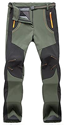 TBMPOY Men's Quick Dry Belted Waterproof Softshell Fleece Ski Pants(02 Thick Green,us M)