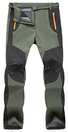 TBMPOY Men's Quick Dry Belted Waterproof Softshell Fleece Ski Pants(02 Thick Green,us...