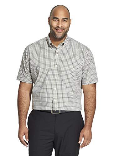 Van Heusen Flex Stretch Short Sleeve Non Iron Shirt Camisa con Cuello Abotonado, Negro, XXXXL para Hombre