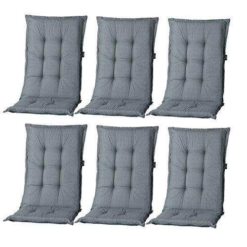 Nordje Hochlehner-Auflagen Comfort Gartenmöbel-Auflage 6er Set | In unterschiedlichen Farben (Grau)