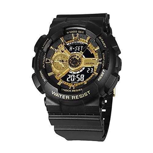 WNGJ Black Multifuncional Digital Sport W Luxury Analog Quartz Dual Pantalla Dual Pantalla Waterport Sports Digital LED Reloj de Pulsera Yellow