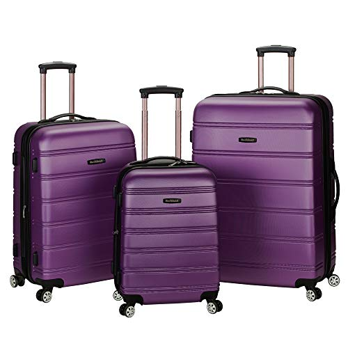 Rockland Melbourne Hardside Expandable Spinner Wheel Luggage, Purple, 3-Piece Set (20/24/28)