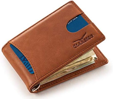 Super Slim RFID Leather Wallet For Men Cardholder Money Clip Inside Perfect For Travel Front product image