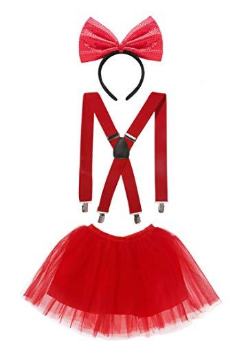 Seawhisper Falda de tul roja con tirantes en forma de Y, lazo rojo, juego de 3 piezas, disfraz de Blancanieve, Minnie Mouse, accesorios para mujer