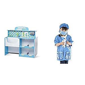 MULTI-FUNCTIONAL ANIMAL CARE CENTER: The Melissa & Doug Animal Care Veterinarian & Groomer Wooden Activity Center has a vet area on one side, groomer on the other. Various Melissa & Doug pet sets are available separately to accessorize this center. T...