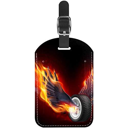 Etiquetas para Equipaje Rueda con alas de Fuego Etiquetas de Cuero para Maletas de Viaje 1 Paquete