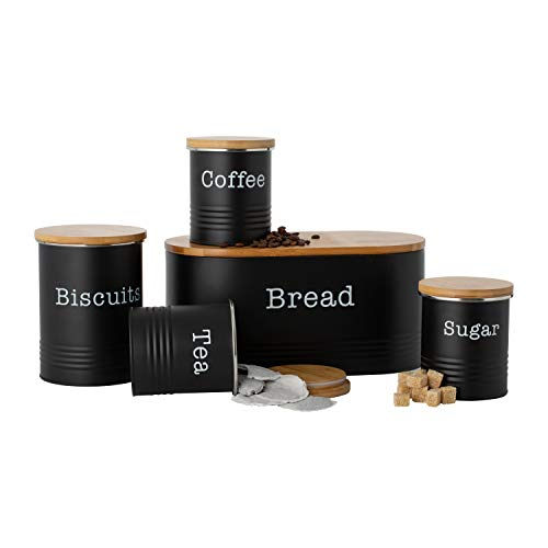 EHC 5pc Essential Tea,Coffee, Sugar, Biscuit and Bread Canisters With Wooden Lid - Black
