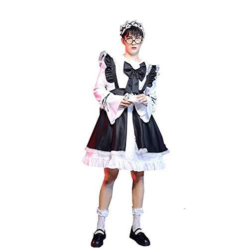 Lolita Cute Maid Costumes Anime japonés Cosplay Uniforme Vintage French Fancy Dress Blanco y Negro Uniforme de Manga Larga Traje de mucama gótico para Mujeres Hombre