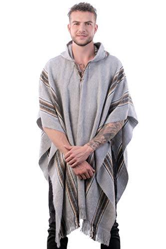 INTI ALPACA Alpaka Poncho mit Kapuze - Streifen Loden Umhang für Herren aus Alpaka Wolle- - Poncho Cape Mantel für den Winter - Silber grau - Einheitsgröße