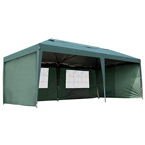 Outsunny 10' x 20' Easy Pop Up Canopy Party Tent with 4 Removable Sidewalls (Green)