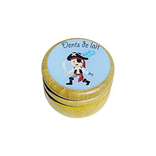Boîte boite à dents de lait en bois pour en différents modèles pour garçons et filles avec couvercle à vis de 44 mm (Pirate) 7010F