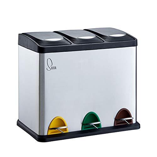 SVITA TC3X8 Küchen-Eimer 24 Liter 3X 8L Edelstahl dreifach Abfalleimer 3er-Mülleimer Mülltrennung Treteimer